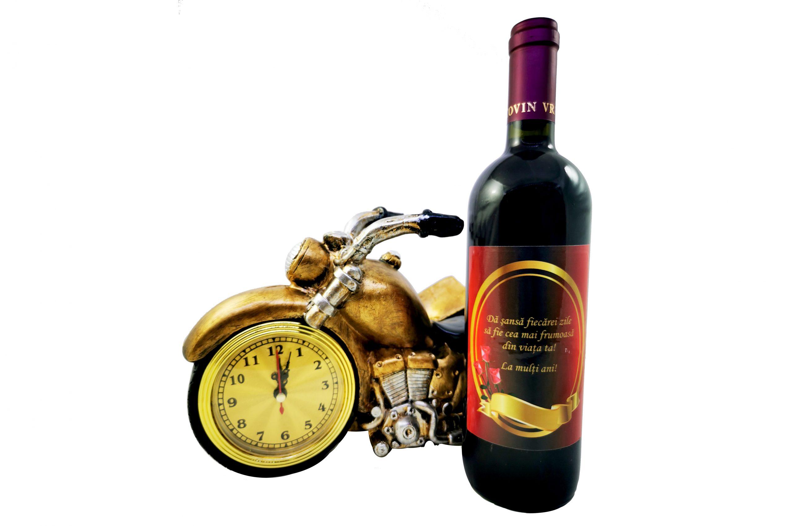 Cadou motocicleta suport sticla cu ceas si termometru