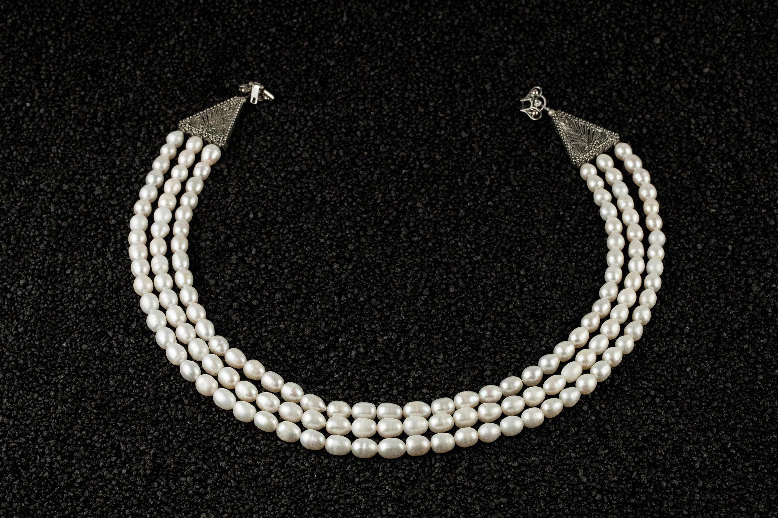 Colier triplu perle naturale de cultura