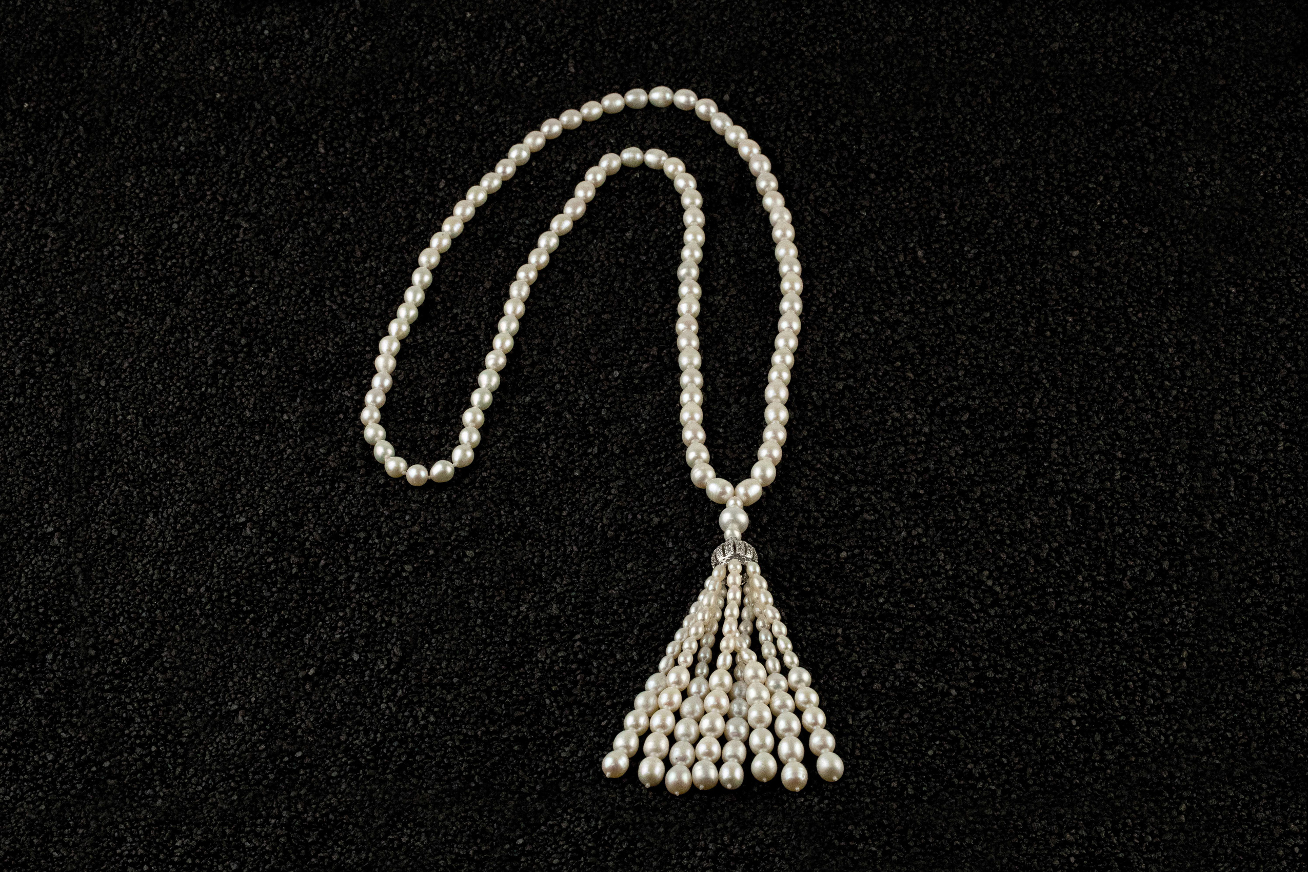 Colier lung perle naturale White Tassel