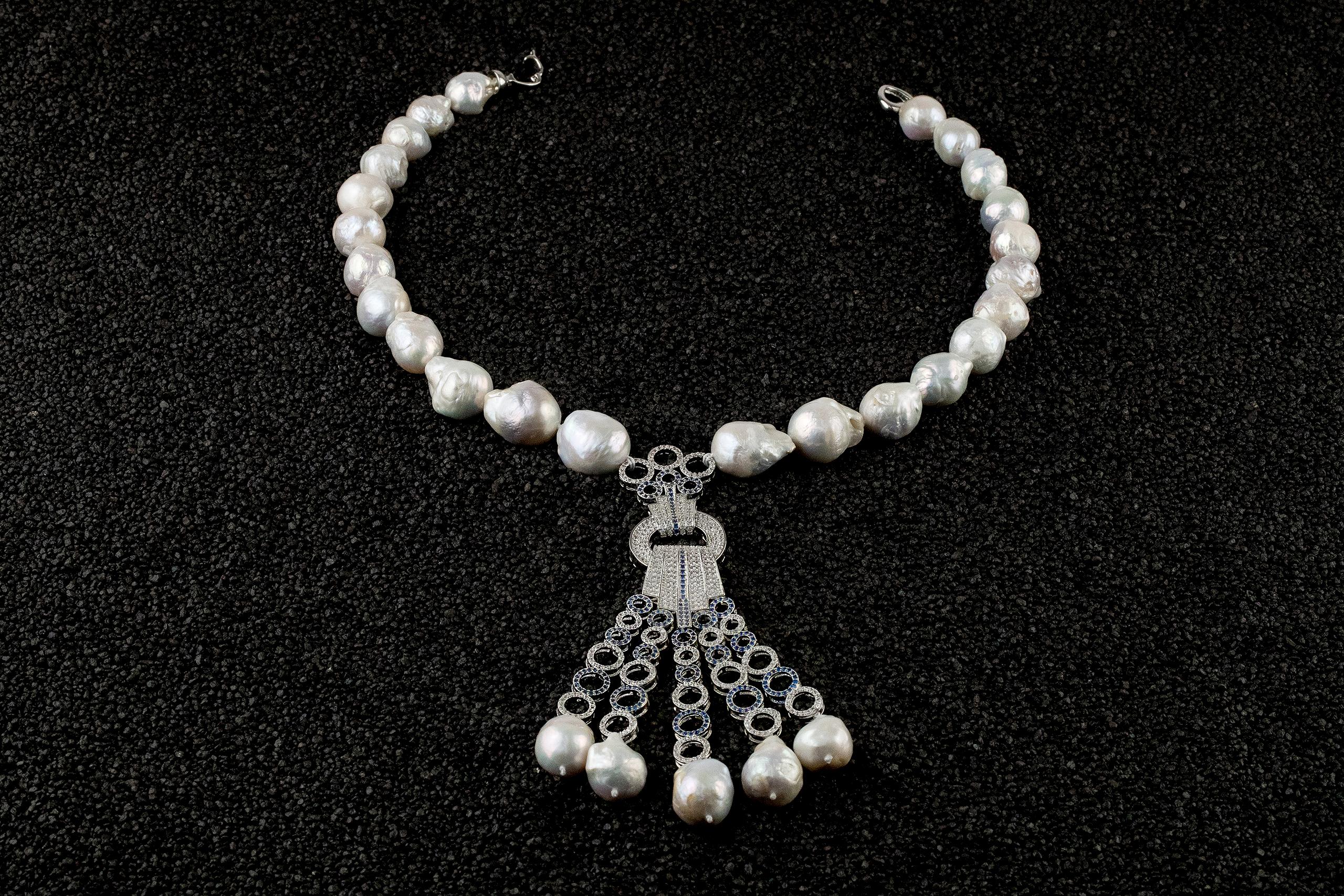 Colier perle Mallorca Blue Saphire Tassel