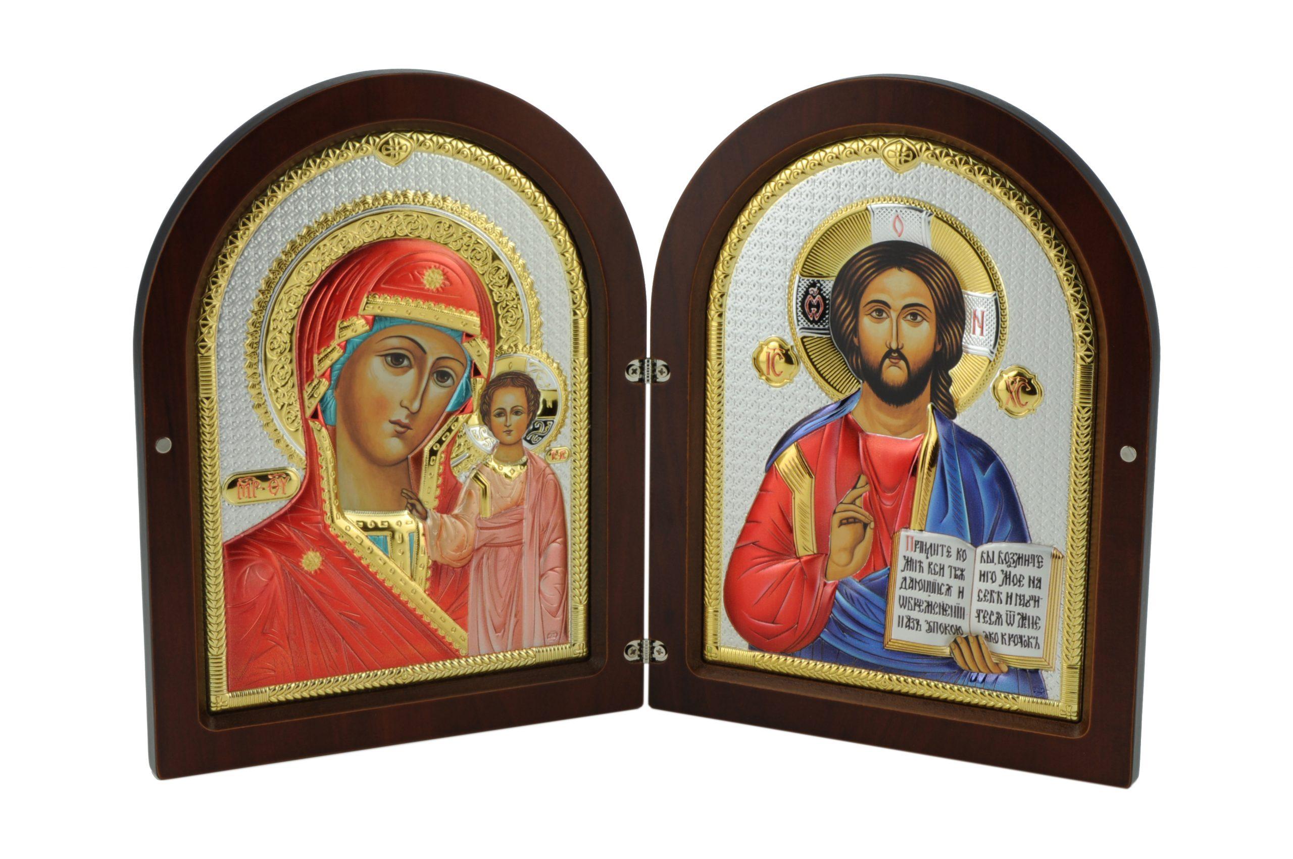 Icoana Dubla Maica Domnului din Kazan si Mantuitorul Color